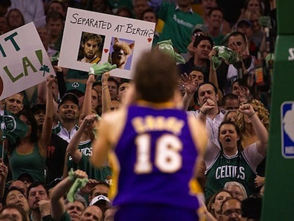 celtics fans free throw distraction pau gasol llama