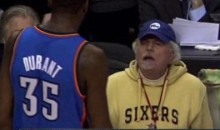 Kevin Durant Pushes Evan Turner, Argues With Kenny Rogers Look-A-Like (Video)