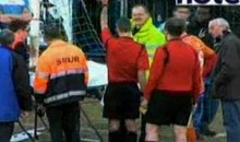 Soccer Player Given Red Card For Diving As He's Carted Off On A Stretcher (Video)