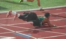 Sprinter Falls At Finish Line, Breaks Out The Worm Dance (Video)