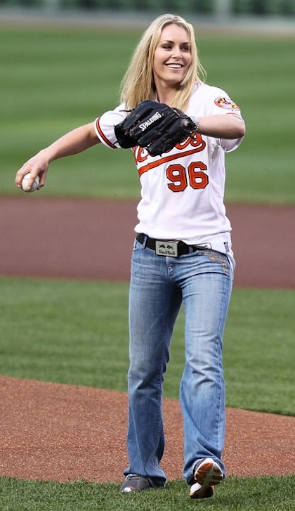 #14 lindsey vonn orioles first pitch
