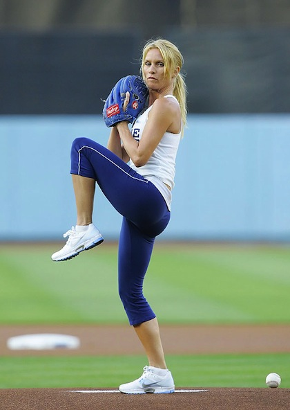 #15 nicollette sheridan dodgers first pitch