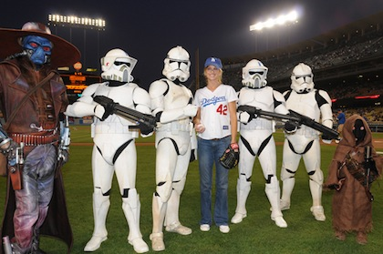 kathy ireland dodgers first pitch star wars