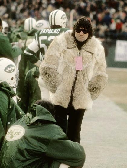 joe namath wearing fur coat on sidelines