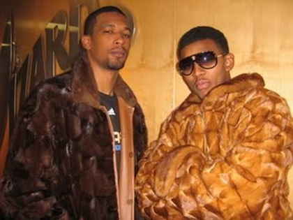 nick young and dominic mcguire (wearing gilbert arenas' fur coats)