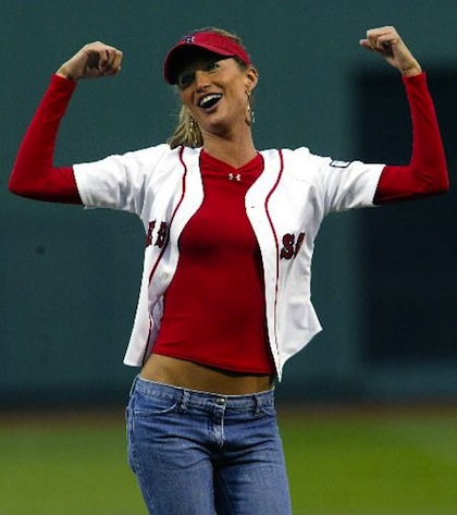 #4 gisele bundchen red sox first pitch