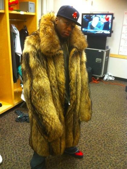 nate robinson wearing shaq's fur coat