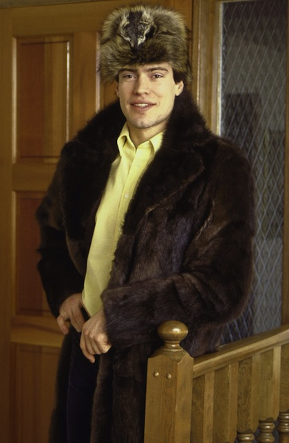 #8 mark messier wearing fur coat and hat