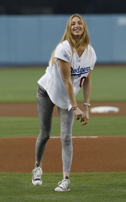 Whitney Port Throws Out The First Pitch