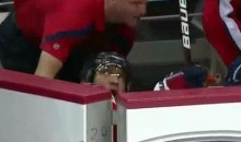 Alex Ovechkin Takes A Spill Into The Bench (Video)