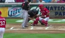 Umpire Takes A Stephen Strrasburg 96 MPH Fastball To The Groin (Video)