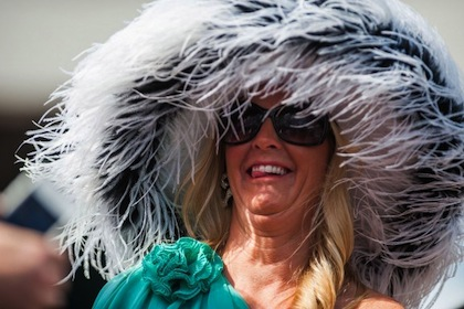 #11 crazy weird funny stupid 2012 kentucky derby hats - feather hat woman making stupid face