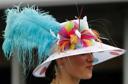 #17 blue feather goofy kentucky derby 2012 hat