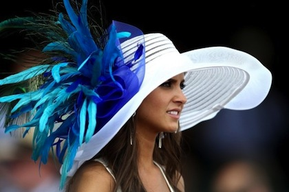 #21 crazy white hat with blue feathers 2012 kentucky derby