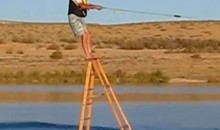 Watch A 65-Year-Old Grandpa Wakeboard Atop A Six-Foot Ladder (Video)