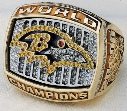 #8 baltimore ravens 2001 super bowl championship ring