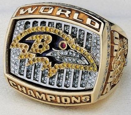 #8 baltimore ravens 2001 super bowl championship ring
