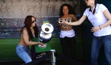 Topless Activists Attempt To Steal The EURO 2012 Trophy Again (Photos & Video)