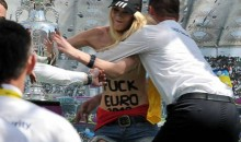 Topless Ukraine Activist Grabs Euro 2012 Soccer Trophy In Protest Of Sex Tourism (Pic + Video)