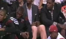 Chris Bosh Was Wearing Peach Pants On The Bench Last Night (Video)
