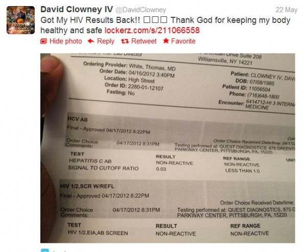 david clowney hiv test tweet