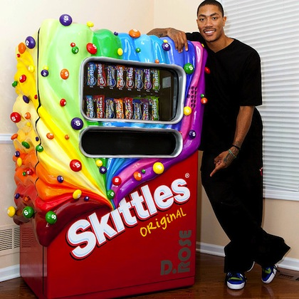 derrick rose skittles vending machine