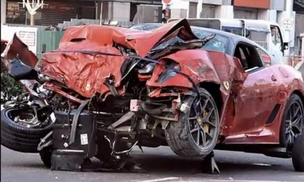 Three Dead After Speeding Ferrari T Bones Taxi In