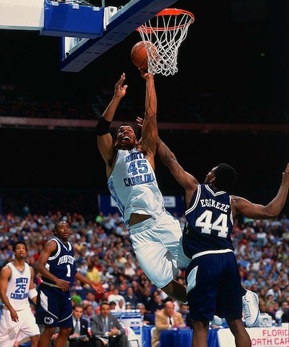 julius peppers playing basketball for UNC in 2001