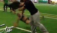 Female Nearly Gets Her Wig Knocked Off During LFL Tryout (Video)
