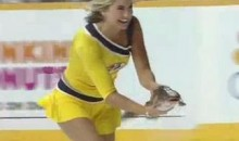 Predators' Ice Girl Handles Catfish With Her Bare Hands (Video)