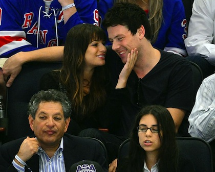 lea michele cory monteith glee rangers playoff game