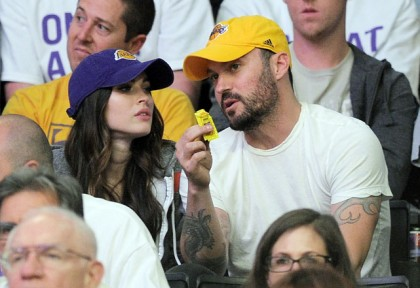 #15 megan fox and brian austin green at lakers playoff game