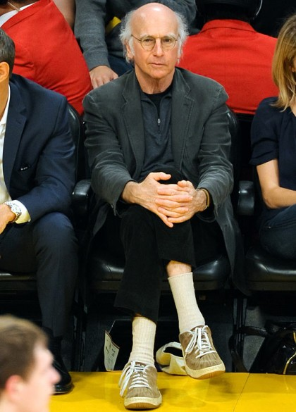 #18 larry david at lakers playoff game