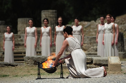 olympic flame lighting ceremony olympia greece high priestess