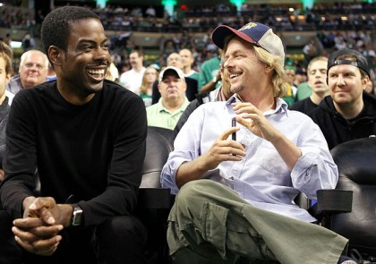 #22 chris-rock-david-spade at boston celtics 76ers playoff game