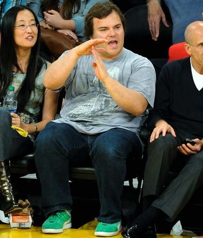 #26 jack black calling time out at lakers playoff game