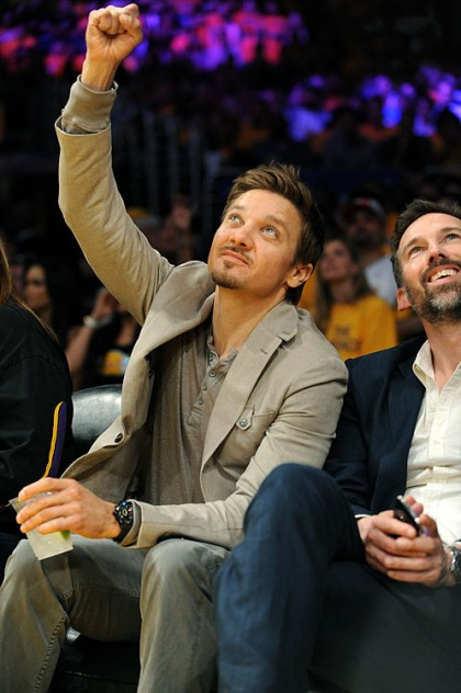 #30 jeremy renner at lakers playoff game