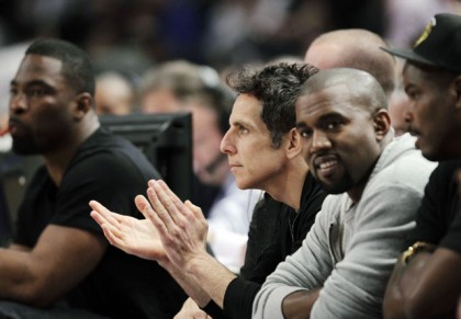 #8 ben stiller and kanye west at knicks heat playoff game