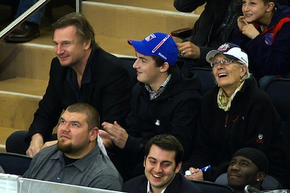 liam neeson at rangers game