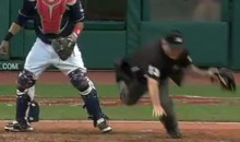 Watch Home Plate Umpire Derryl Cousins Trip Over Carlos Santana (Video)