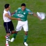 awkward shirt exchange at brazilian soccer game
