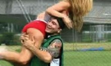 TUF Brazil Fighters Celebrate By Hoisting Brittney Palmer (GIF)