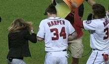 Bryce Harper Gets A Gatorade Shower (Video)