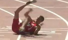 Bulgarian Sprinter Suffers Horrifying Broken Leg While Crossing The Finish Line (Video)