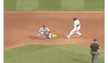 Umpire Jim Wolf Rules Carlos Santana Safe Even Though He Was Out By A Mile (Video)
