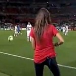 jeremy menez kicks ball at sara carbonero