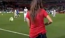 Did France's Jeremy Menez Try To Hit Sexy Spanish Reporter Sara Carbonero With A Soccer Ball? (Video)