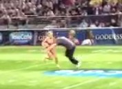 Lingerie Football Fan Wins Halftime Contest, Gets To Tackle Half-Naked Girl (Video)