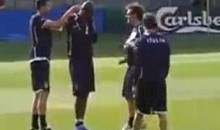 Italy's Mario Balotelli Prepars For Euro Semi-Final By Getting His Ears Flicked (Video)