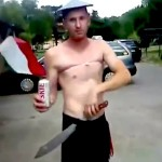 polish soccer fan uses machete to open beer